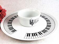 Serving Tray Bowl Black White Piano Keys Music Notes Vtg 1982 Shafford Tableware