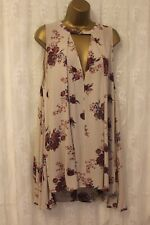 Free People Crinkle Finish V Neck Plunge Relaxed Fit Print Swing Dress S 10 38