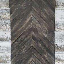 Chevron Rustic Wood Plank Parisian Dark Gray Brown Espresso Parquet Wallpaper