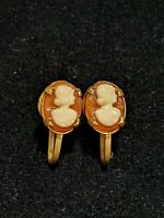 Vintage Estate Gold Tone Peach Coral Cameo Screw Back Earrings
