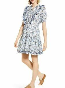 Lucky Brand Victoria Fit & Flare Printed Ruffle Mini Dress Size Medium 7W91570