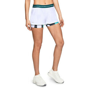 Under Armour UA HeatGear 2 in 1 Ladies White Printed Fitted Running Shorts