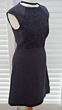Reiss Talitha Dress Dark Navy Lace Overlay and Trim - Size 10