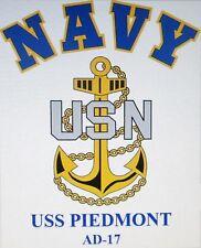 USS PIEDMONT  AD-17* DESTROYER TENDER  U.S NAVY W/ ANCHOR* SHIRT
