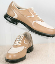 Oakley Golf Shoes Women's Size 8M Tan & White Leather Soft Spike Lace-Up 96548