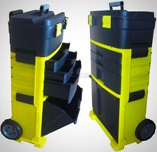 Chest Trolley Cart Storage Mobile Roller Toolbox Wheel Plastic Black Yellow New