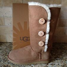 UGG BAILEY BUTTON TRIPLET TRIPLE CHESTNUT SUEDE TALL BOOTS SIZE US 8 WOMENS