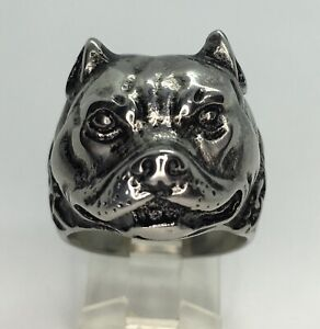 Pitbull dog Ring Stainless Steel Motorcycle Biker Jewelry