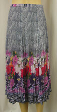 W LANE White Multi Floral Crinkle Polyester Panel A-Line Skirt Size 10 BNWOT Y91