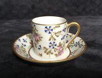 Vintage Limoges France Cornflower Sprig Gilt Demitasse Cup Saucer