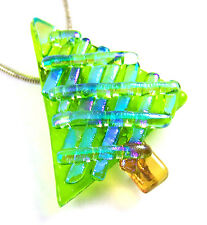 Dichroic Fused Glass CHRISTMAS TREE PIN Green Mosaic Stripes Moonstone Blue Teal