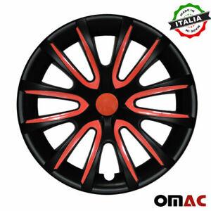 """14"""" Inch Hubcaps Wheel Rim Cover For Honda Matt Black Red Insert 4pcs Set"""