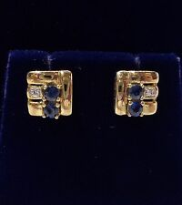9ct Oro Giallo Zaffiro E Diamante Orecchini a lobo