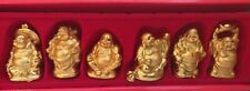 Set of 6 GOLD COLOR Feng Shui Laughing HAPPY Buddha Figures & Statue Luck 2 inch