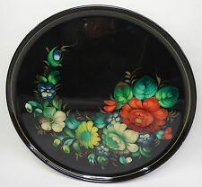 VINTAGE hand painted Varnish Tray-vecchia mano fiori motivo VERNICE tavoletta