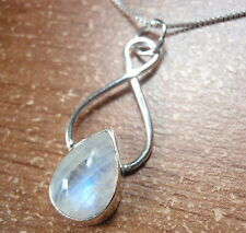 Blue Moonstone Teardrop 925 Sterling Silver Necklace Corona Sun Jewelry