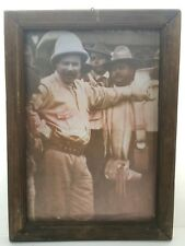 Vintage Pancho Villa Printed Photography Poster Wood Frame Mexico History 18X13
