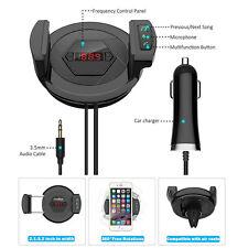 12V Handsfree Car Kit FM Transmitter Bluetooth AUX USB Charger Cell Phone Holder