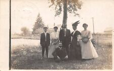 Claypool Indiana~Nellie Hanes in Group~Lady Bird Wing Hat~Mrs Wood~1908 RPPC