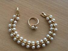 Vintage Napier gold tone faux pearl bracelet + sarah Coventry adjustable ring