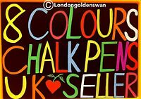 8 Bright Colours Liquid Chalk Marker Pens Blackboard Whiteboad Window Glass Sign
