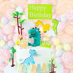 Dinosaur Cake Topper Theme Decoration kids Party Baby Cute Birthday Stand Up