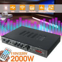 1200W bluetooth HiFi Stereo Amplifier 5CH Tuner Remote Smart USB SD Mic Input