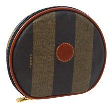 芬迪制鞋标识化妆品手包保护袋钱包棕色 pvc 皮革 ak45837