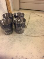 Lot Of 4 Brand New Jose Cuervo Shot Glass Party Necklace Stainless Shot Glasses