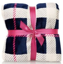 NEW BATH & BODY WORKS BLUE PINK PLAID FESTIVAL BLANKET THROW LARGE SOFT PLUSH