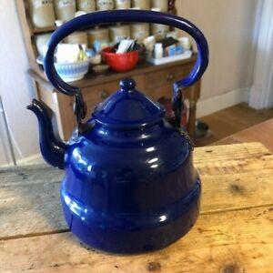 Vintage Dark Blue Enamel Stove-Top Kettle / Teapot – Great! –