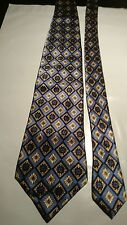 Luca Franzini Vintage Silk Tie In a Blue and Gold Geometric Pattern