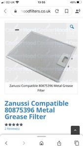 Zanussi Compatible Metal Grease Filter For Extractor Fan