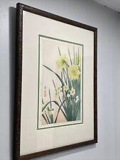 """Japanese Artwork:  Nishimura Hodo Daffodils Framed & Matted Art - Signed- 19x24"""""""