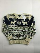 £119 Ralph Lauren Christmas Jumper Boy Girl 3 4 5 6 7 8 14 16 Lambswool Reindeer