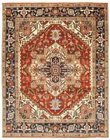 """Hand-knotted Carpet 8'0"""" x 10'0"""" Bordered, Geometric, Traditional Wool Rug"""