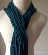 Eileen Fisher Organic Cotton & Cashmere Stripe Scarf Arctic Green  $138.00