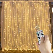 20 Ft. Curtain String Light 600 LED Icicle Lights 20 ft×2 Warm White