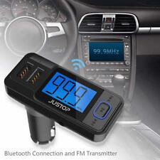 Bluetooth Wireless Handsfree Car Kit FM Music Transmitter With Remote MP3 USB UK