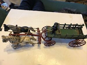 Vintage Old Cast Iron Toy 2 Horse Drawn  Wagon 14 1-2""