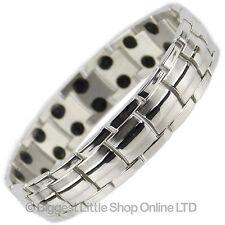 Mens TITANIUM Magnetic Bracelet NEW 44 Magnets NdFeB Neodymium Therapy Chrome