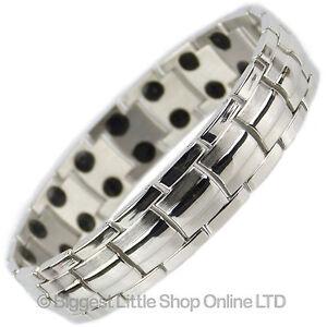 Mens Copper with Shiny Chrome Finish Titanium Magnetic Bracelet Health Magnets T