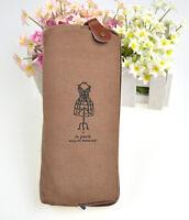 Canvas Paris Dress Pencil Pen Case Cosmetic Bag Coin Purse Pouch with Zipper New
