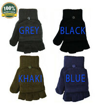 NEW THERMAL MENS LADIES FINGERLESS COMBO GLOVES MITTENS THERMAL SHOOTING FLAP