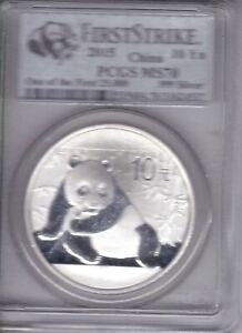 2015 China Silver  Panda 10 Yn, 1oz .999 Fine (PCGS certified MS70 1st STRIKE)