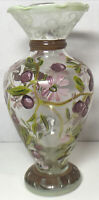 """Tracy Porter 6 1/2"""" Hand-Painted-Grapes Daisy Flowers Glass Vase Ruffled Edge"""