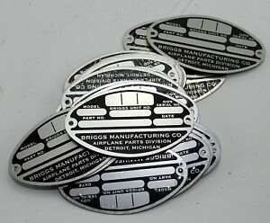 Reproduction B17 forward fuselage data plate (GC9)