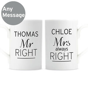 PERSONALISED MR and MRS MUGS SET Wedding Gift Idea   Anniversary Present