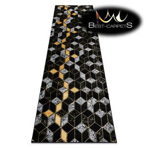 """Amazing Modern Elegant Rug Runner """"GLOSS"""" geometric 3D BLACK / GOLD Best Quality"""