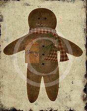 Primitive Christmas Gingerbread Man Print 8x10 Laser printed